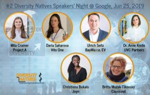 #2 Diversity Natives Speakers Night with Project A, UnternehmerTum Venture Capital Partners, Vito One, BaWay r.e. energy ventures at Google